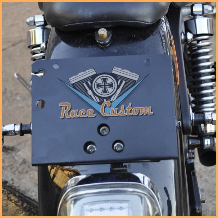 Suporte de Placa Inclinado Harley Fatboy Dyna Sportster 883 - Placa Antiga  - Race Custom