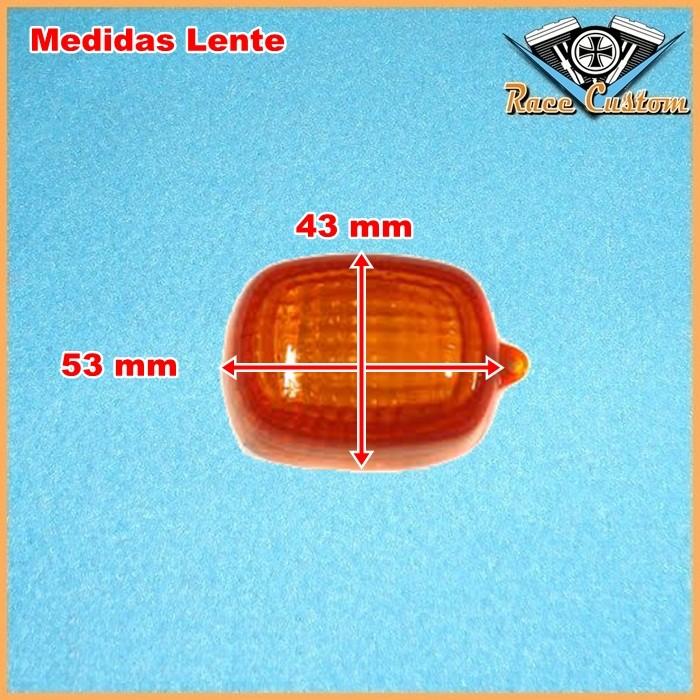Pisca Retangular Bullet Preto Lente Laranja Com Lâmp - PAR  - Race Custom