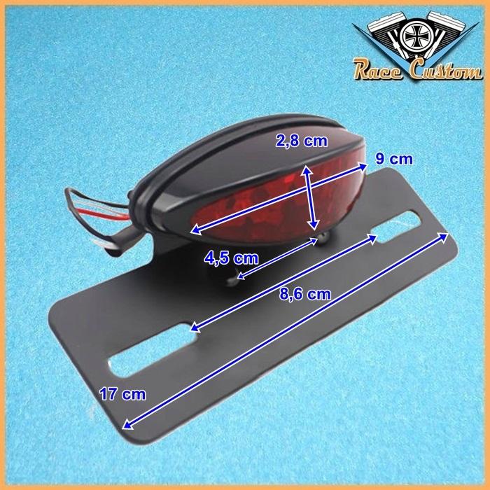 Lanterna Traseira Oval Olho Mini Com Suporte de Placa - Vermelha  - Race Custom