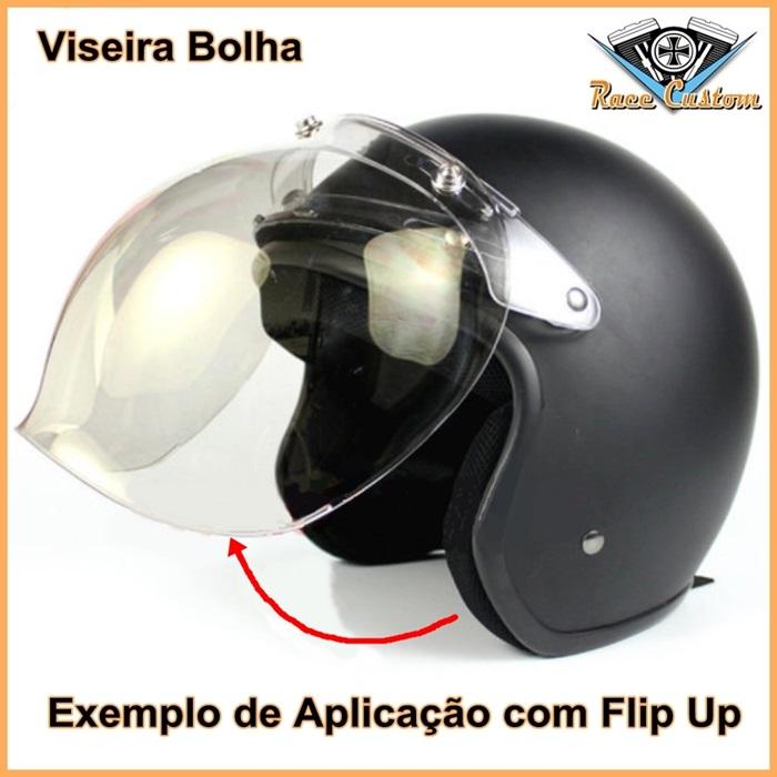 Flip Up para Viseira Bolha Capacete Old School - Cristal  - Race Custom