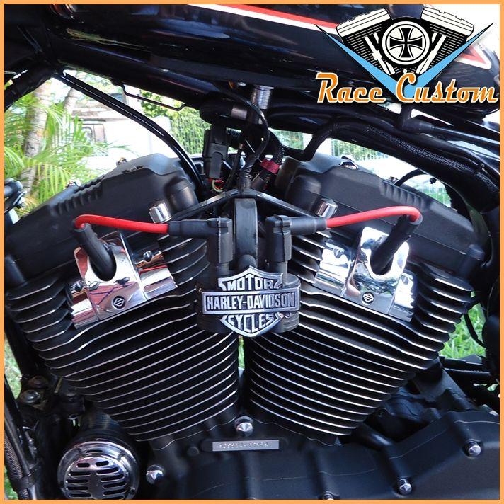 Cabo de Vela Harley Davidson Relocação Bobina - Vermelho e Preto  - Race Custom