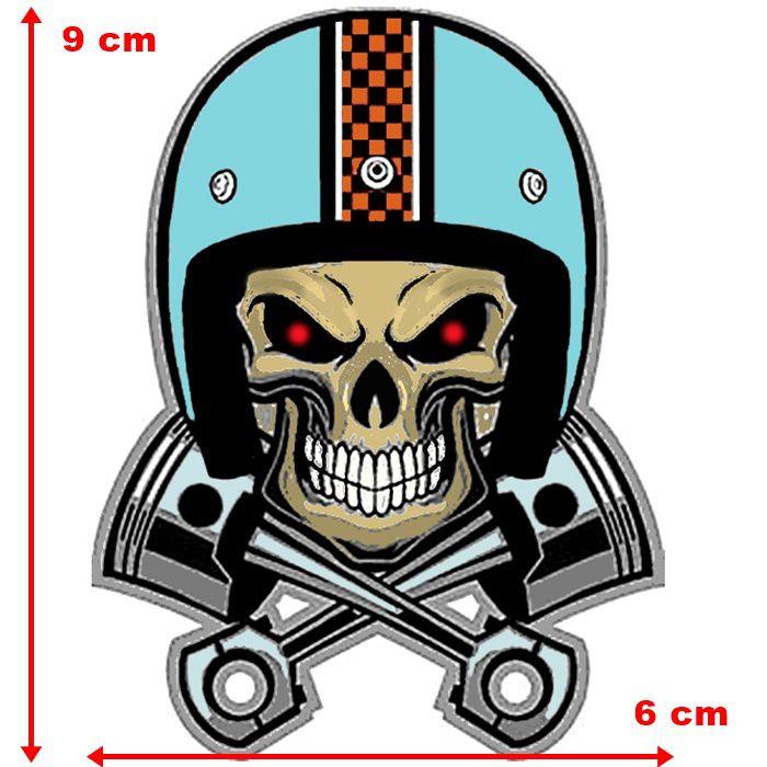 Adesivo Skull Biker Pistons - Unidade  - Race Custom