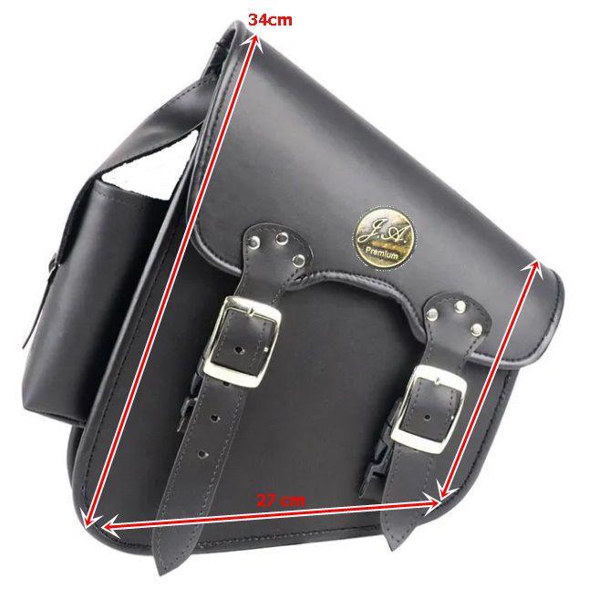 Alforge Lateral Solo Bag HD Softail, Shadow, Vulcan 900 - Preto Com Suporte Garrafa - Couro Legítimo  - Race Custom