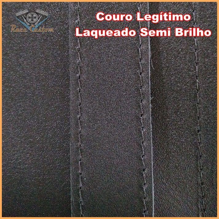 Alforge Traseiro Baú 35 Litros Preto c Cravo P Capacete C Fechadura Couro Legítimo  - Race Custom