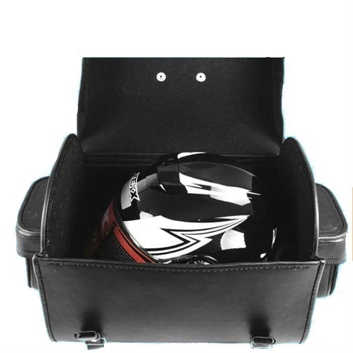 Alforge Traseiro Baú 35 Litros Preto Com Franja - Para Capacete  - Race Custom