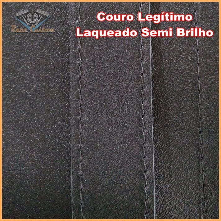 Alforge Traseiro Baú 35 Litros Preto Liso P Capacete C Fechadura Couro Legítimo  - Race Custom
