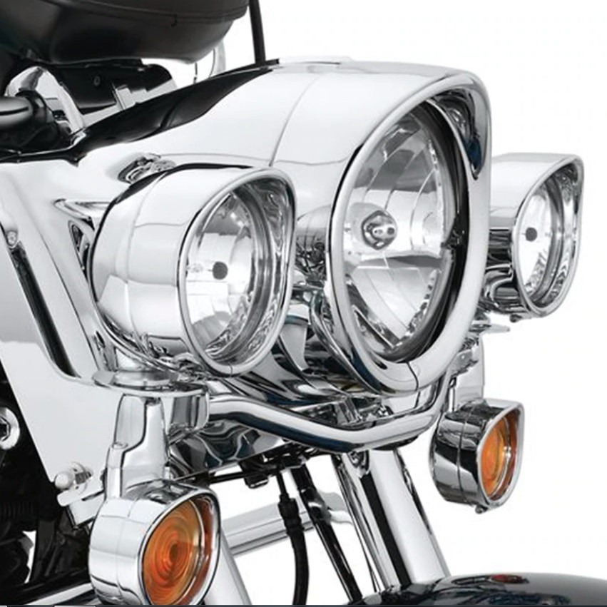 "Aro Farol 7"" e 4,5"" Cromados Com Aba Harley Road King Ultra Electra  - Race Custom"