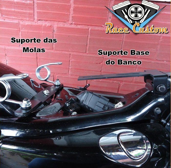 Banco Solo Mola e Carona Harley Davidson Sportster 883 - Preto Losangos  - Race Custom