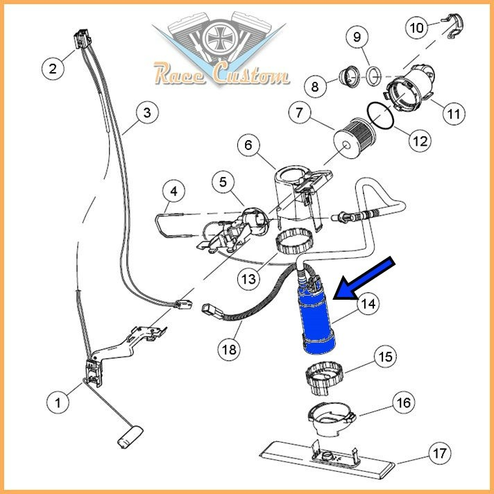 Bomba De Combustível - Gasolina Harley Davidson Touring - Compatível 62908-08  - Race Custom