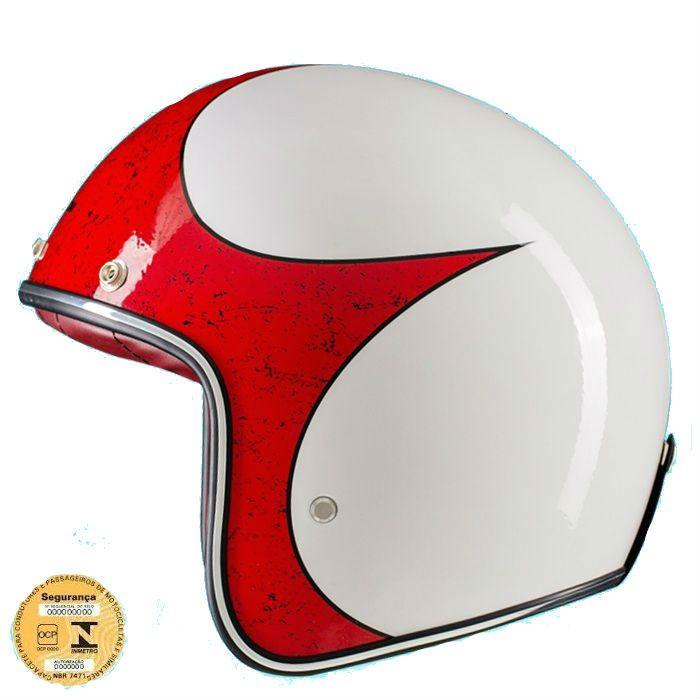 Capacete Old School, Café Racer Branco e Vermelho - Tam 60  - Race Custom