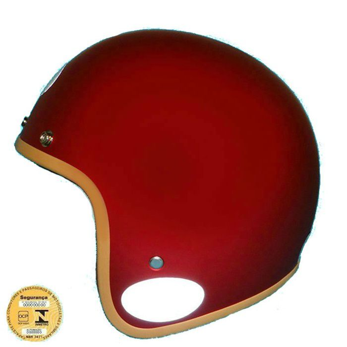 Capacete Old School, Café Racer Cereja Fosco - Tam 60  - Race Custom