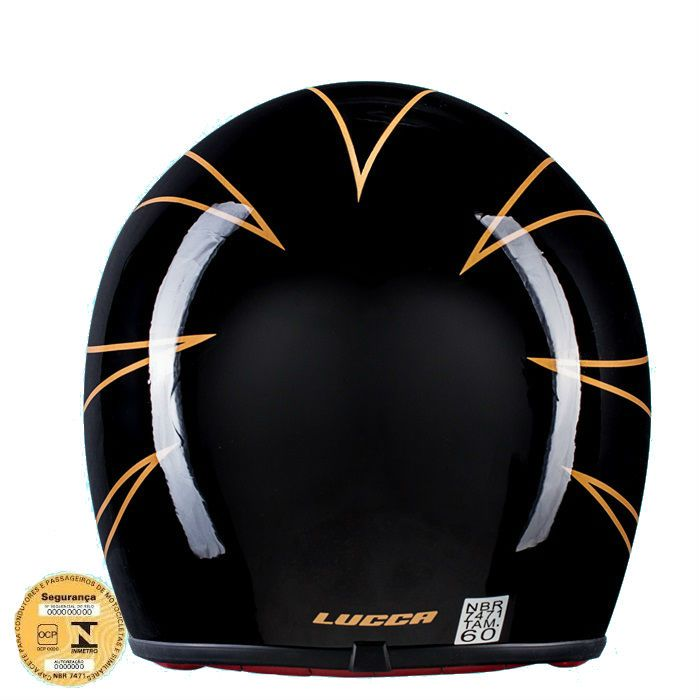 Capacete Old School, Café Racer Preto Brilho Flame Gold - Tam 62  - Race Custom