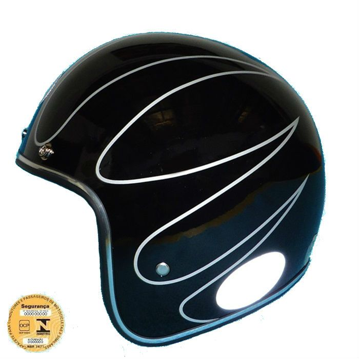Capacete Old School, Café Racer Preto Brilho Flame- Tam 62  - Race Custom