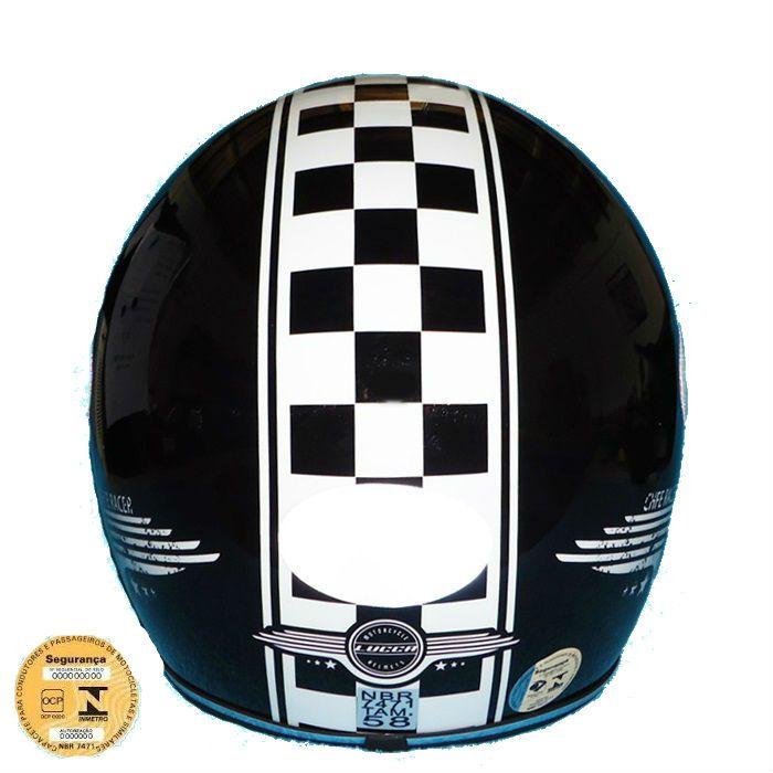 Capacete Old School, Café Racer Preto Brilho - Tam 58  - Race Custom