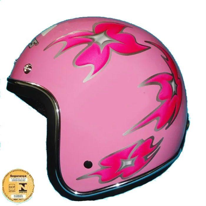 Capacete Old School, Feminino Rosa - Tam 58  - Race Custom