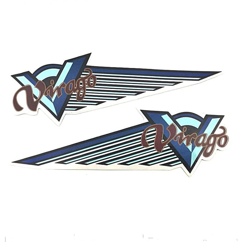 Emblema de Tanque Virago 250, 535, 750 e 1100 (Adesivo Azul) - PAR  - Race Custom