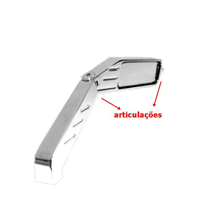 Espelho Retrovisor Retangular Mini Cromado - PAR  - Race Custom