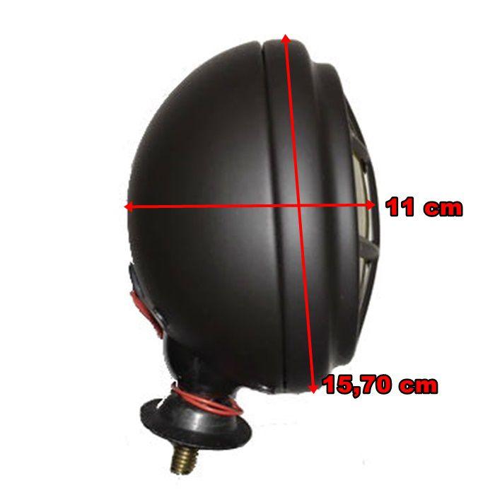 Farol Bobber 157 mm com Grade Preto Fosco e Lâmpada H5 55-60W Lente Cristal  - Race Custom