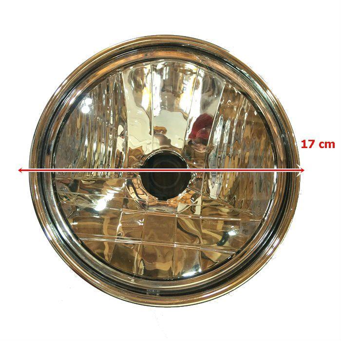 Farol Café Racer 170 mm Preto aro Cromado - Sem Lâmpada  - Race Custom