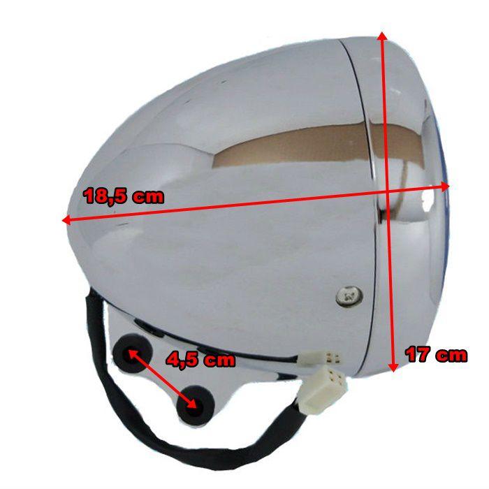 Farol Custom Bobber Cafe Racer Bullet - Cromado  - Race Custom