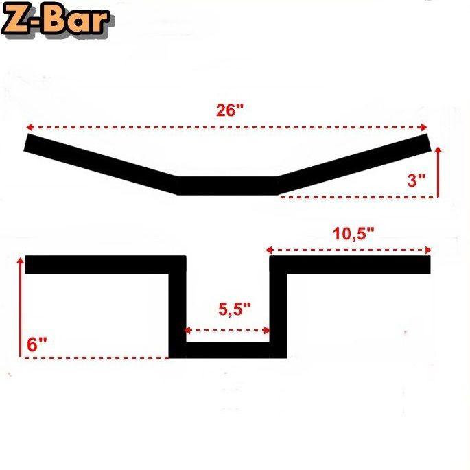 Guidão 1 Pol. Z Bar Z-Bar 6 Pol. - Preto Fosco  - Race Custom