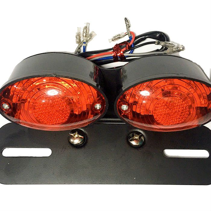 Lanterna Dupla Led Vermelha + Luz Placa Custom Chopper  - Race Custom