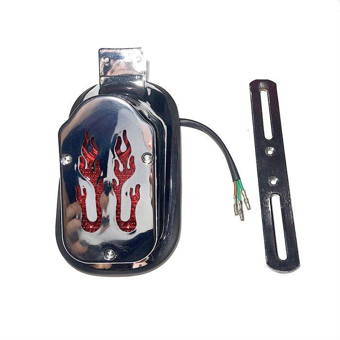 Lanterna Traseira Capela Flames com luz de Placa  - Race Custom