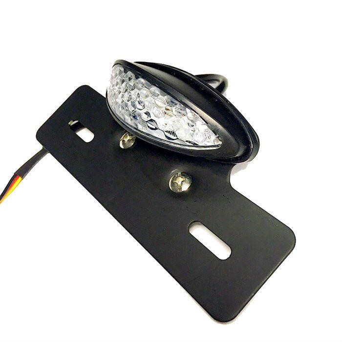 Lanterna Traseira Oval Olho Mini Com Suporte de Placa - Cristal  - Race Custom