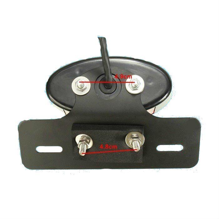 Lanterna Traseira Oval Preta Lente Vermelha - Modelo Cat Eye  - Race Custom