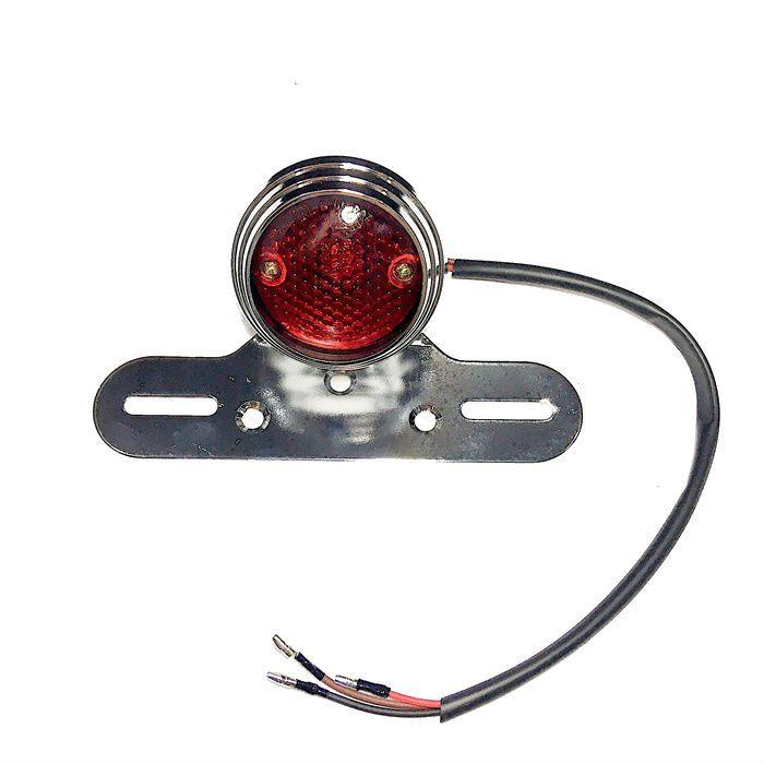 Lanterna Traseira Redonda Bobber Chopper - Cromada  - Race Custom