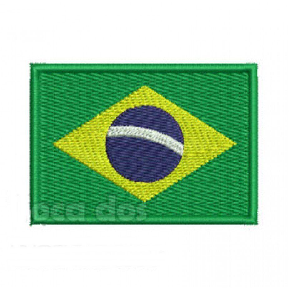 Patch Bordado Bandeira Brasil - 5 x 7 Cm  - Race Custom