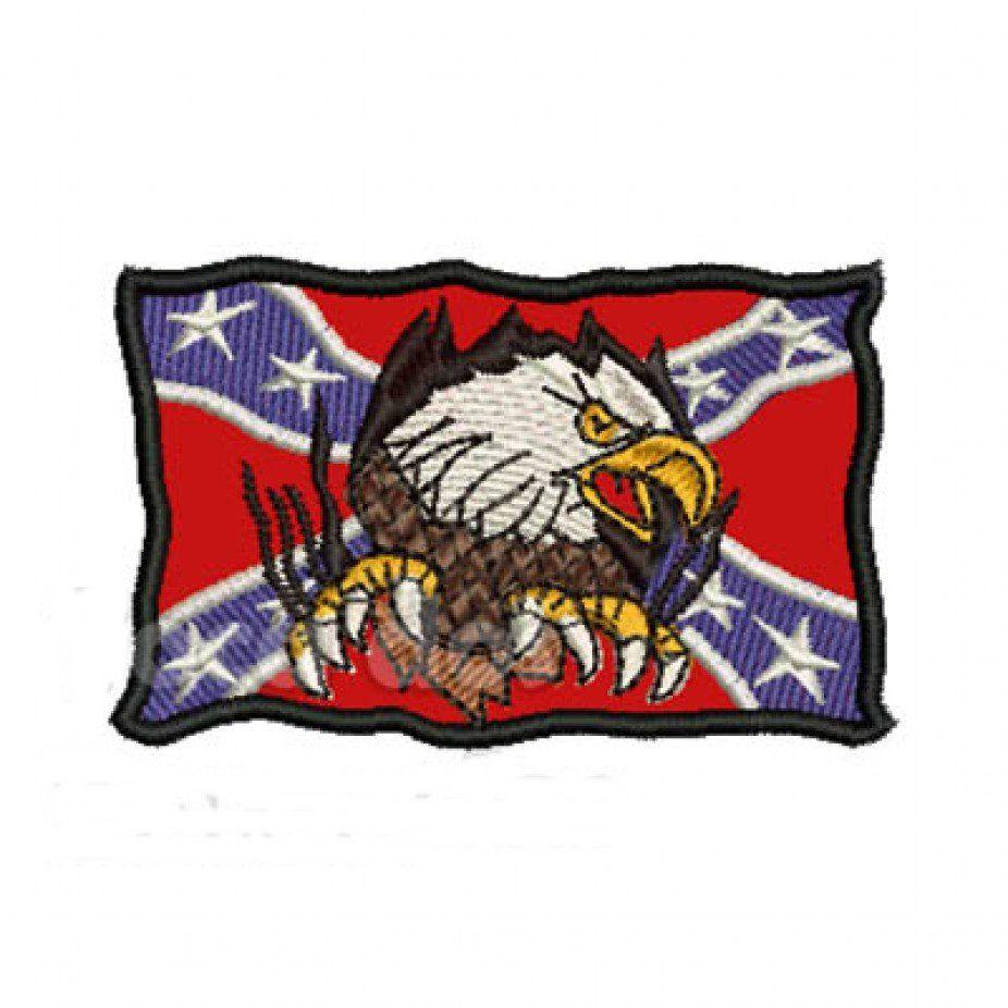 Patch Bordado Bandeira Confederados com Águia - 5 X 7,5 Cm  - Race Custom