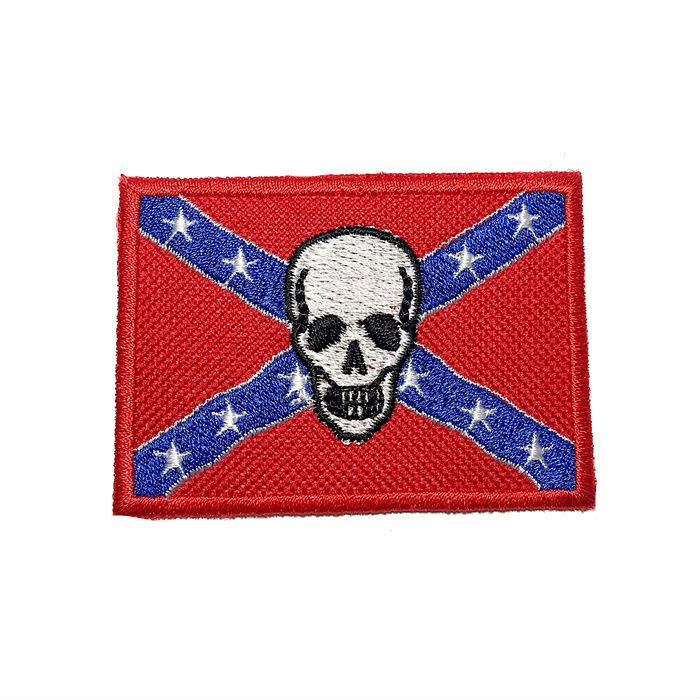 Patch Bordado Bandeira Confedrados Skull - 5 x 7 Cm  - Race Custom