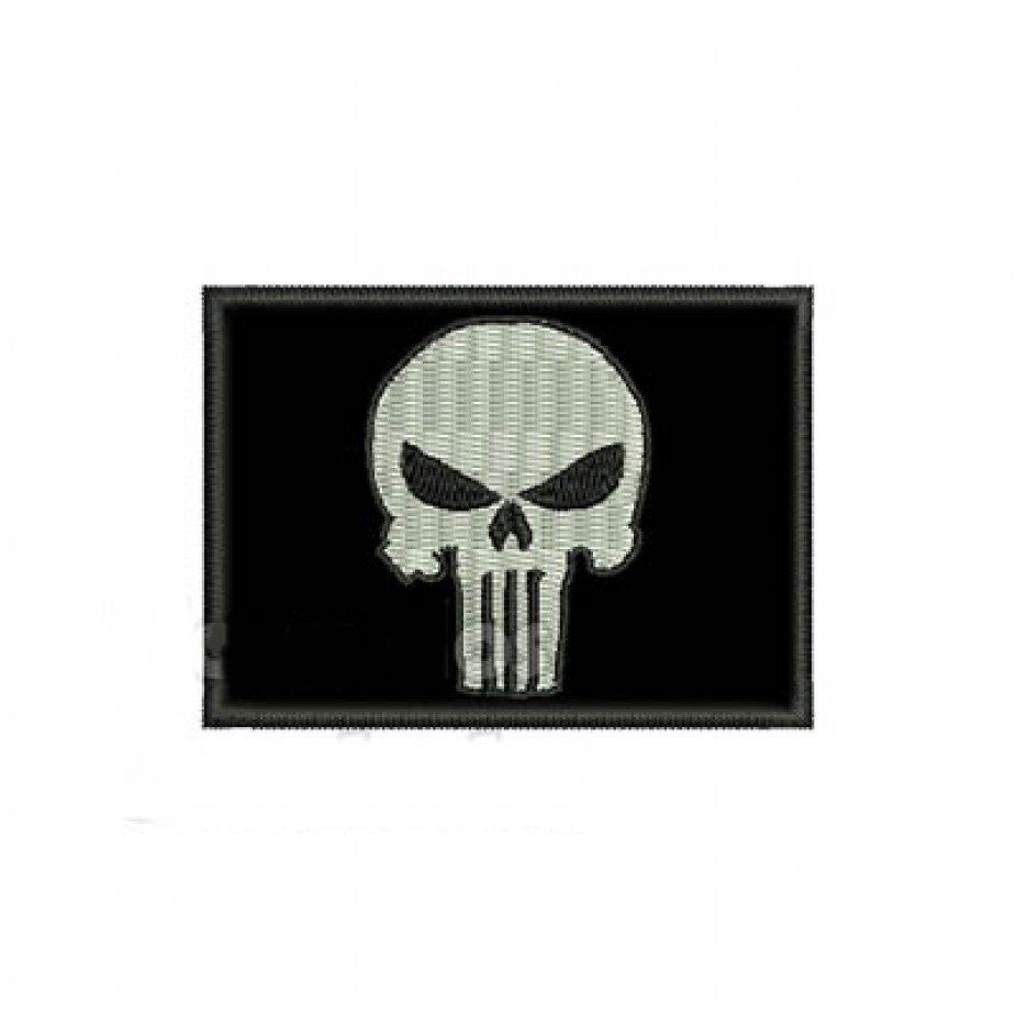 Patch Bordado Bandeira Justiceiro - 5 x 7 Cm  - Race Custom
