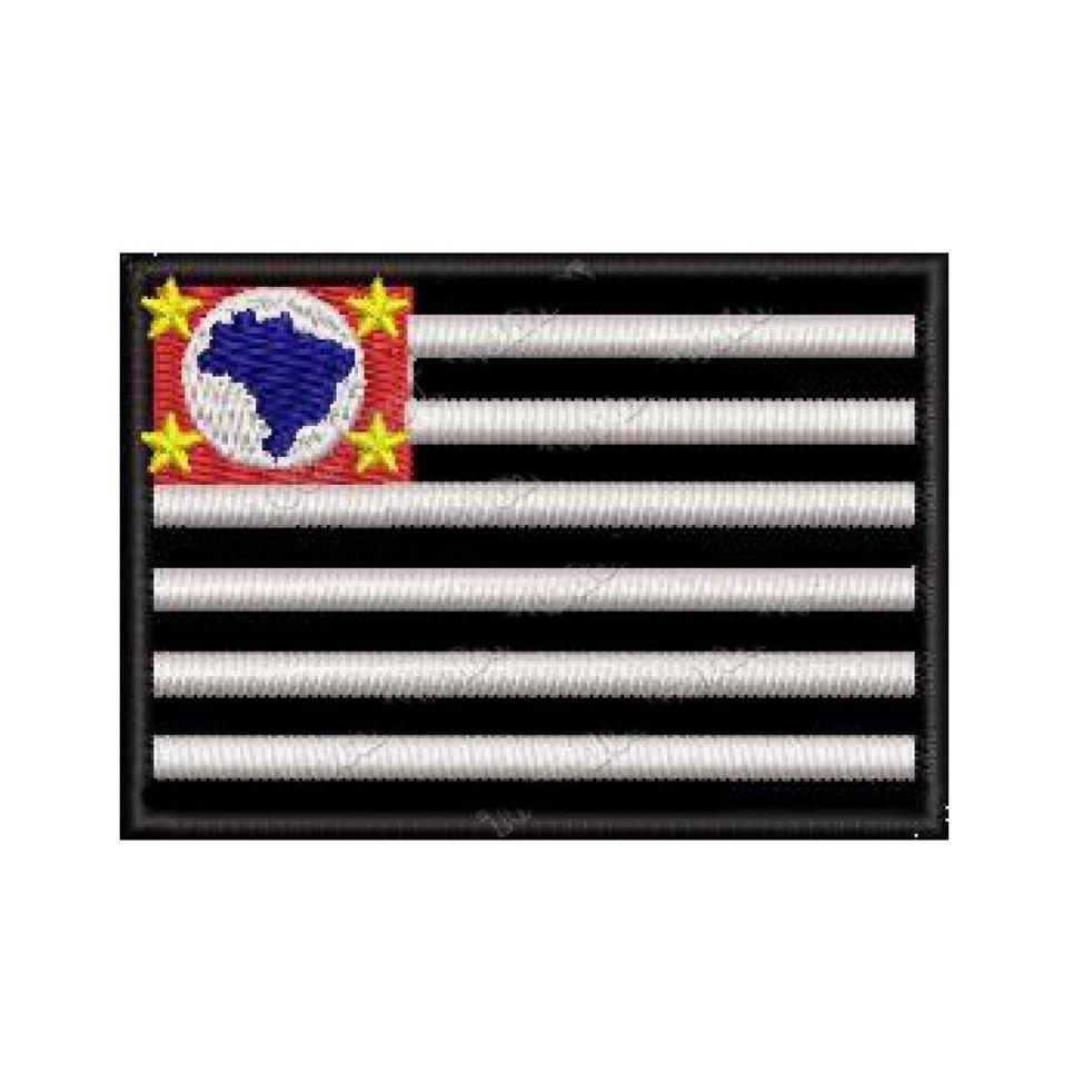 Patch Bordado Bandeira São Paulo - 5 x 7 Cm  - Race Custom