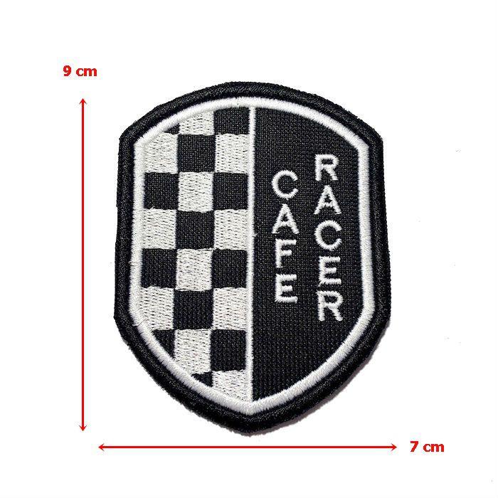 Patch Bordado Café Racer Escudo - 9 x 7 Cm  - Race Custom