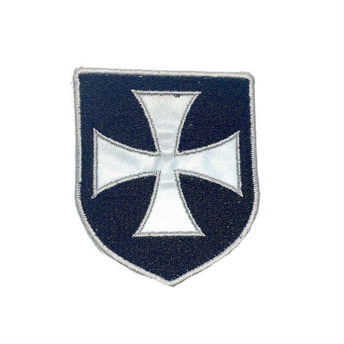 Patch Bordado Escudo Cruz de Malta Refletivo - 8 x 7 Cm  - Race Custom