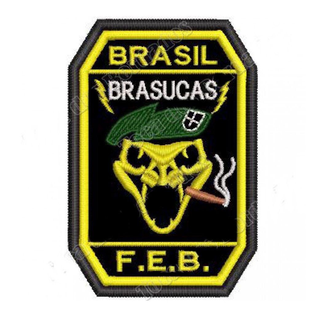 Patch Bordado FEB Brasucas - 9 X 6 Cm  - Race Custom