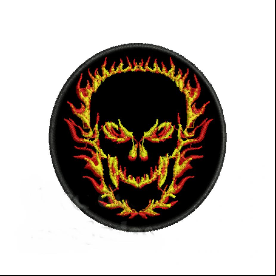 Patch Bordado Fire Skull - 8 x 8 Cm  - Race Custom