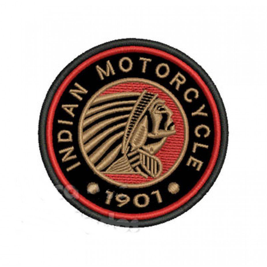 Patch Bordado Indian Motorcycle 1901 - 8,5 x 8,5 Cm  - Race Custom