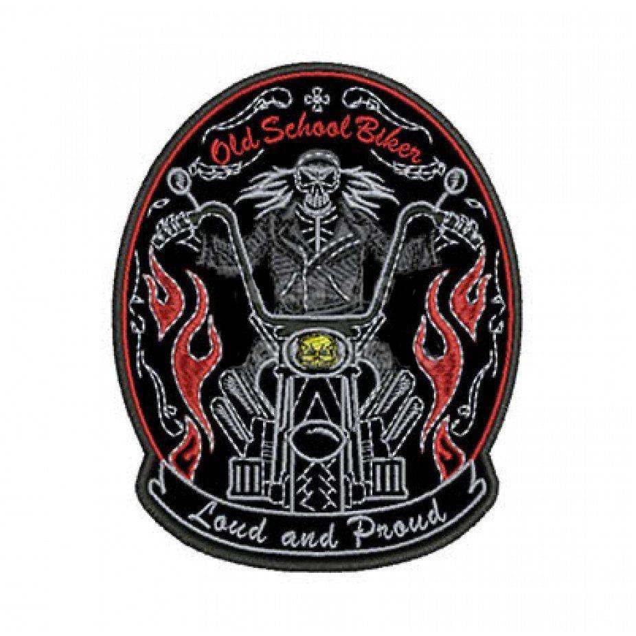 Patch Bordado Loud and proud Old school biker - 12 x 9 Cm  - Race Custom