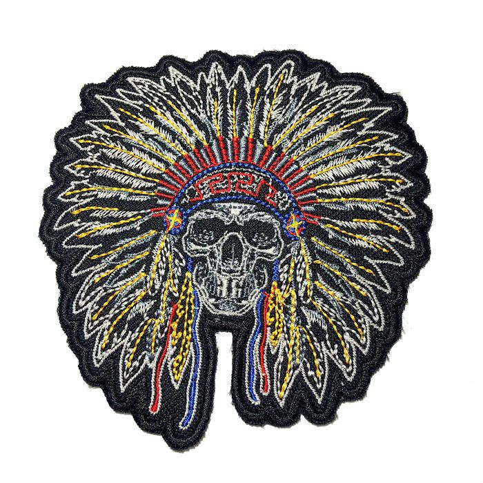 Patch Bordado Skull Indian - 12 x 11,5 Cm  - Race Custom