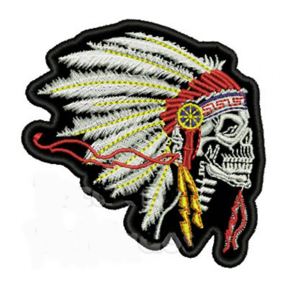 Patch Bordado Skull Indian - 7,5 x 8,5 Cm  - Race Custom