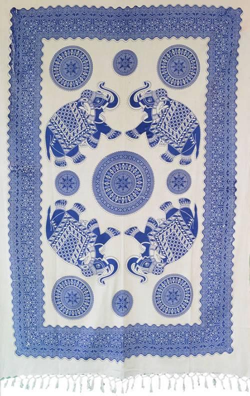 Bed Cover Solteiro Elefante Azul com Franjas