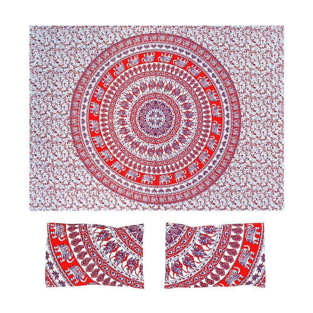 Canga Casal King Com Capa de Almofada Mandala Elefantes II