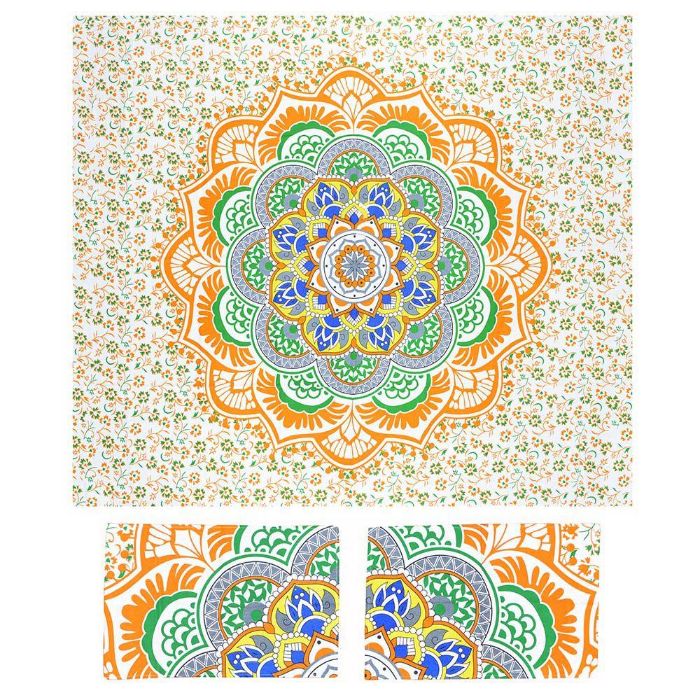 Canga Casal Com Capa de Almofada Mandala Floral