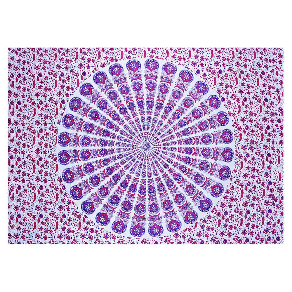Canga Casal King Com Capa de Almofada Mandala Pavão Color