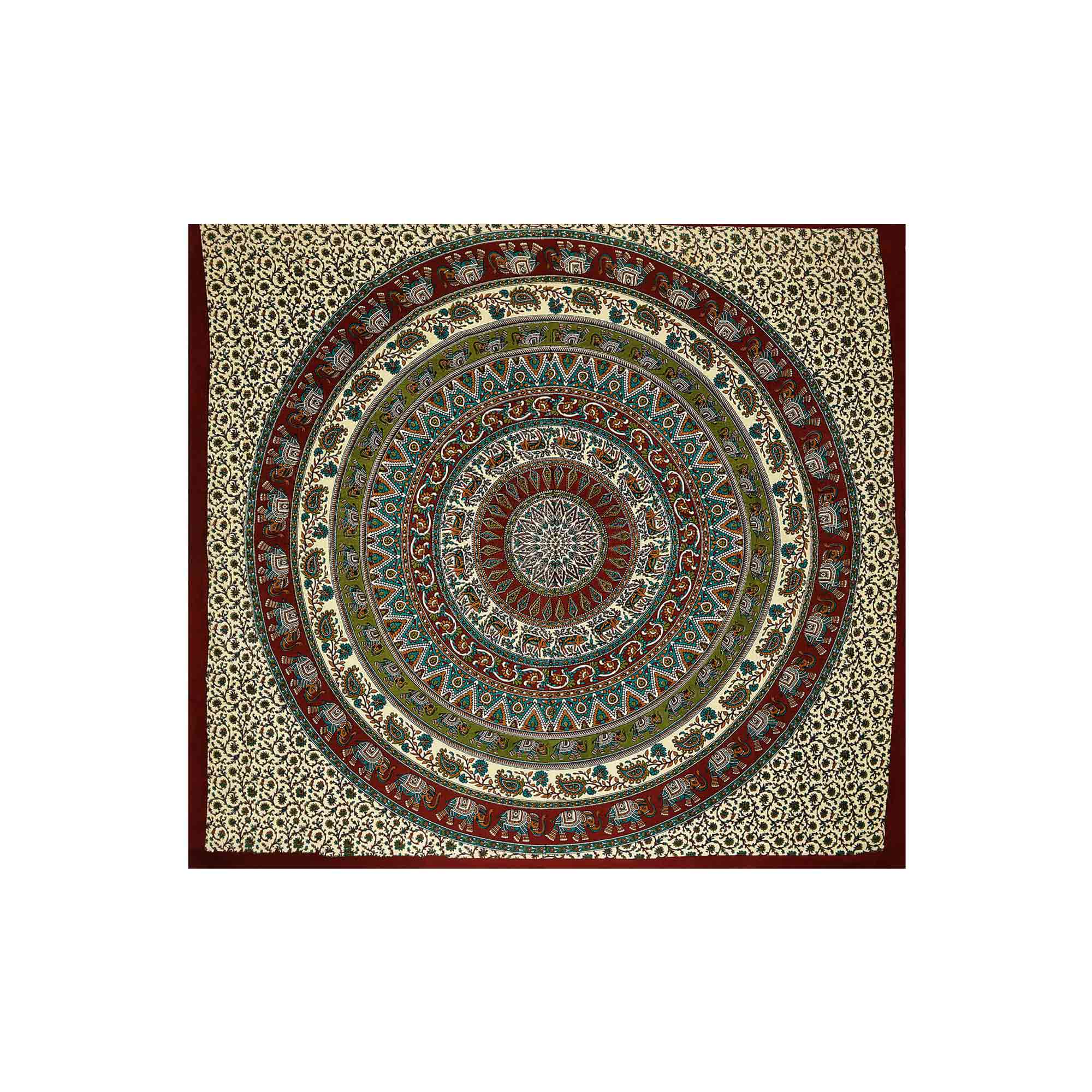 Canga Casal Mandala Floral com Elefantes II