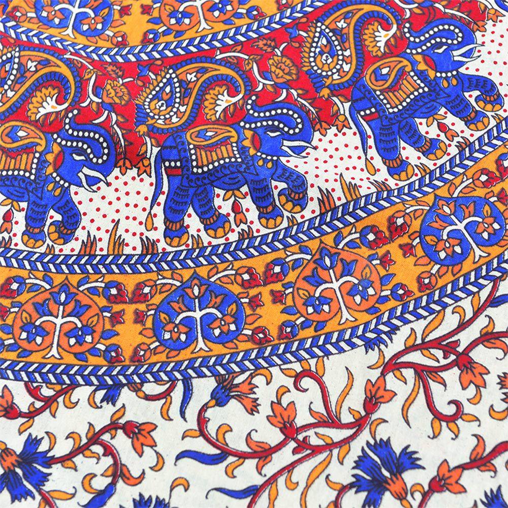 Canga Casal Mandala Floral com Elefantes Pequenos