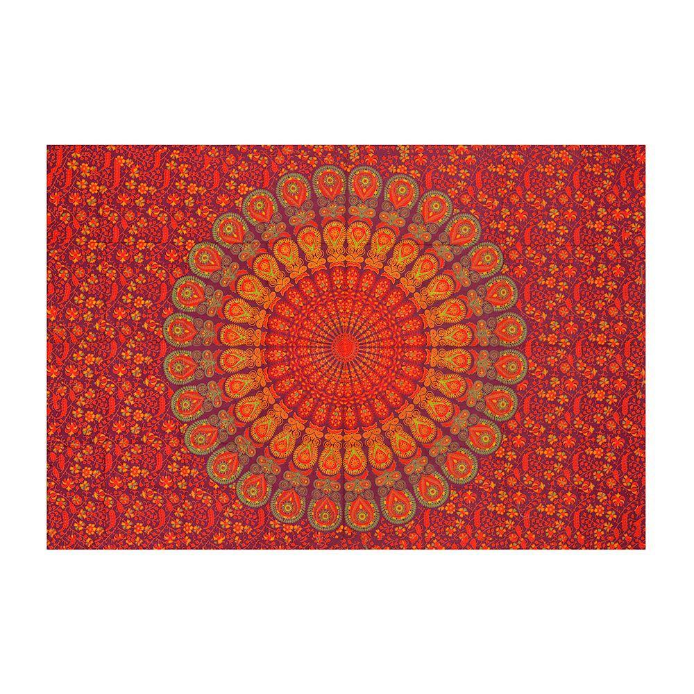 Canga Casal Pequena Com Capa de Almofada Mandala Pavão Vermelha